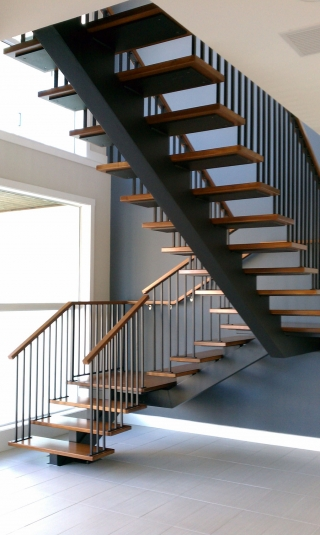 Floating Aluminum Straight Stairs
